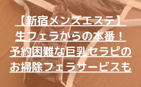 【新宿メンズエステ】生フェラからの本番!予約困難な巨乳セラピのお掃除フェラサービスも