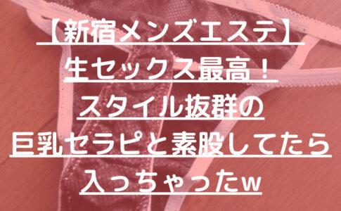 【新宿メンズエステ】生セックス最高!スタイル抜群の巨乳セラピと素股してたら入っちゃったw